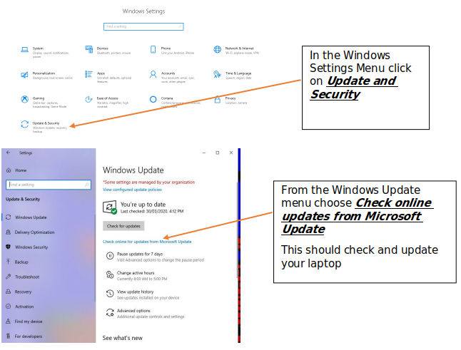 Windows update instructions